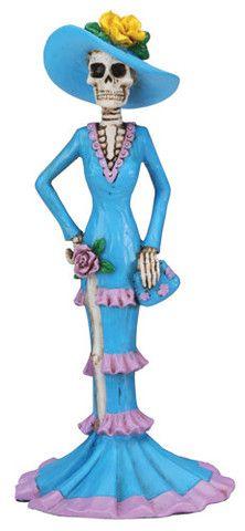 Day of the Dead Blue Senorita Skeleton Figurine