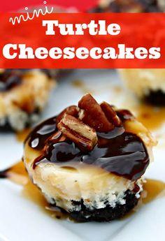 Mini Turtle Cheesecakes