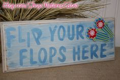 Flip Flops Beach Sign - Wooden Sign - Bar or Tropical Decor from Nature's Glow ~ Price: $16.00 USD