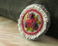 Hand Embroidered Brooch / Pin - Purple Roses Bouquet