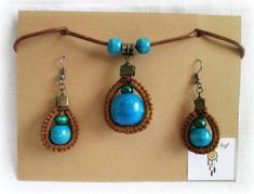 Macrame necklace and earrings