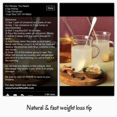 Natural & fast weight loss tip ☕️ Fast Weight Loss Tips, Weight Loss Secrets, Healthy Weight Loss, How To Lose Weight Fast, Healthy Skin Care, Healthy Tips, Liquid Diet, Best Natural Skin Care, Good Fats