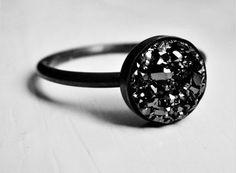 Black Oxidized Silver Ring