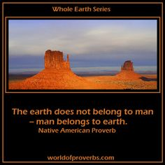World of Proverbs - Famous Quotes: The earth does not belong to man. Man belongs to earth. ~ Native American Saying [19619]