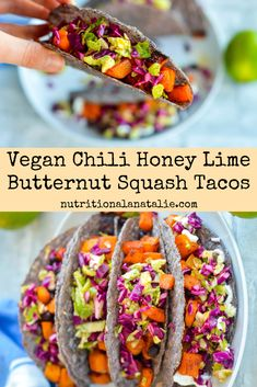 Simple vegan buttternut squash recipe for this fall! These vegan tacos are made with chili honey lime roasted butternut squash and black bean and topped with a simple and crunchy cabbage slaw for an easy taco night! Roasted Butternut, Cabbage Tacos, Vegetarian Tacos, How To Eat Better, Vegan Recipes Easy, Vegetarian Recipes, Taco Recipe, Dinner, Vegan Recipes