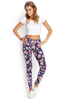 Soft Knit Floral Leggings   FOREVER21 - 2000107463