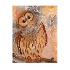 Owl bird art Painting Watercolor Print Owl Painting by LaBerge