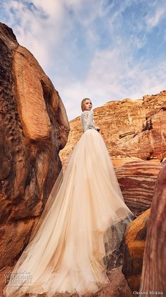 oksana mukha 2018 bridal long sleeves jewel neck heavily embellished lace bodice tulle skirt romantic a  line wedding dress covered lace back royal train (khalissa) bv -- Oksana Mukha 2018 Wedding Dresses