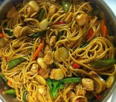 Chicken Lo Mein- this was delicious! I used about 1 1/4 lb. spaghetti and about 5 chicken tenderloins. I left about 1/2 cup sauce that wasn't mixed in so that it could be added if they wanted it more saucy. YUM!