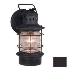 Cascadia Lighting Nautical 12-in H Textured Black Outdoor Wall Light