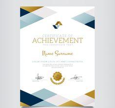 Geometric certificate of achievement Vector Certificate Layout, Certificate Design Template, Certificate Of Achievement, Award Certificates, Travel Brochure Design, Business Design, Paper Design, Invitation Design, Layout Design