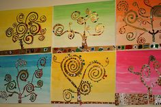 3000 - next picture Art Klimt, Gustav Klimt, Art Et Nature, Tree Of Life Art, 3rd Grade Art, Ecole Art, Art Lesson Plans, Art Plastique, Teaching Art
