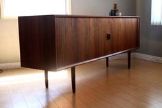 Walnut Tambour Credenza Sideboard Cabinet