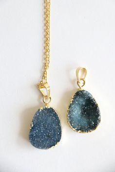 Druzy crystal necklace raw crystal necklace by VermeerJewellery
