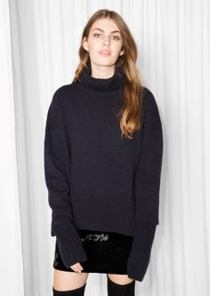 & Other Stories image 2 of Turtleneck Sweater in Navy