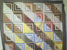Antique Quilt Top Shadow and Light Log Cabin Lancaster Blue