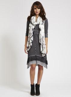 Mint Velvet SS13. Inspire Me. Grey Ruffle Hem Knitted Dress £99, Olivia Print Scarf £35.  mintvelvet.co.uk