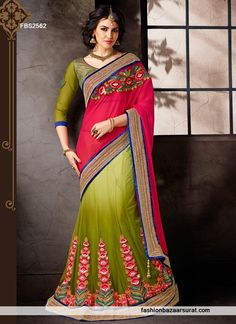 Green And Magenta Glorious Lehenga Saree