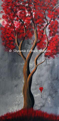 ORIGINAL ABSTRACT PAINTING red tree Mondern Vibrant Color Bright Erback Art Surreal. $275.00, via Etsy.