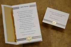 Embossed Start of David: Tradition meets contemporary along with a gold foil Star of David invitation sandwiched between an embossed weave design of sapphire, gold and white. There is space between this unique border at the top for your name. Size: 5 x 8 1/2. Bar mitzvah and bat mitzvah party invitation, Bar bat mitzvah invitation.