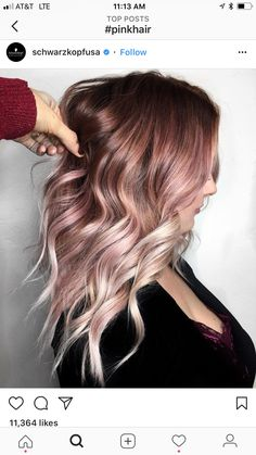 Ombre hair color. Fade. Dark brown, pastel pink, rose gold, blonde.