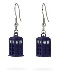 Doctor Who Blue Dangle TARDIS Earrings