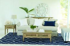 Beach Living colour scheme - OZ Design Furniture: Santorini sofa and Nelson coffee & side table
