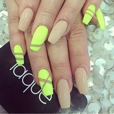 Neon yellow and nude coffin nails Visit http://www.TheLAFashion.com for more Fashion insights and tips.