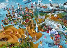Sara Drake - Detail of large 3D world map. Maps are made from mixed media, including papier mache, balsa wood, acrylic paint, beads and wire. All details are hand made and to commission. Each map is personalised with the details of the client's own travels.