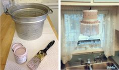I up-cycled an old aluminum colander using Annie Sloan chalk paint and some shabby chic fabric pieces for a cute hanging lamp.