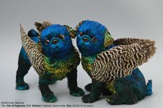 - After making a budgerigar brassiere from the feathers of two deceased pets, Sydney-based artist Emily Valentine Bullock began creating these dogs u. Feather Hat, Bird Feathers, New Zealand Jewellery, Flying Dog, Brussels Griffon, Bizarre, Kawaii, Pet Costumes, Halloween Costumes