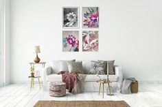 Printable art bundle with floral motif. Combination of various techniques makes this gallery wall unique and original. +++ #gallerywall #gallerywallideas #gallerywalldecor #printablewallart #printablewalldecor #kacixart #flowerlover