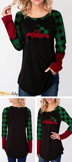 83a4652d8718 Elk Print Long Sleeve Black Christmas T Shirt.