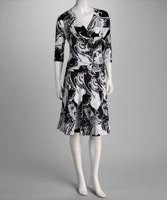 Zashi Black & White V-Neck Dress - Women by Zashi #zulily #zulilyfinds
