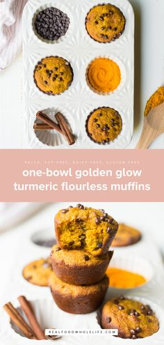 One-Bowl Golden Glow Turmeric Flourless Muffins are packed with nourishing ingredients like anti-inflammatory turmeric and make a naturally sweet and healthy breakfast or snack anytime! Naturally gluten-free dairy-free grain-free and naturally sweetened. Gluten Free Diet Plan, Gluten Free Recipes, Sin Gluten, Ayurveda, Other Recipes, Real Food Recipes, Flourless Muffins, Oatmeal Muffins, Healthy Breakfast Muffins