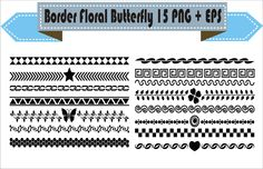 Border Floral Flowers Butterfly Retro Vector Clipart PNG EPS Set Digital Files Transparent Scrapbook Supplies Clip Art Instant Download by VectorArtShop on Etsy