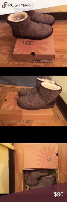 Uggs boots Like new only worn 3 or 4 times. It' comes up to the ankle. Size 9 in men but it is a universal boot. It has a few salt streaks on the sole but comes off easily with water UGG Shoes Winter & Rain Boots