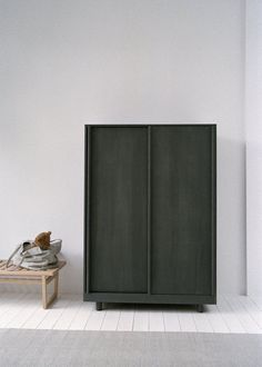 Marina Bautier ash wardrobe with sliding doors is stained forest green; Sliding Door Window Treatments, Sliding Wardrobe Doors, Traditional Doors, Hanging Rail, Folding Doors, Interior Barn Doors, Adjustable Shelving, Innovation Design, Tall Cabinet Storage