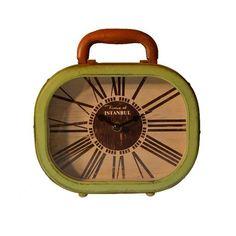 Retro Bavul Masa Saati Yeşil