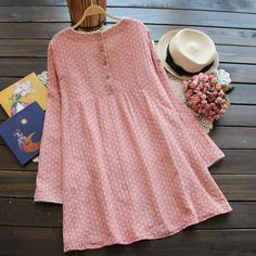 2016 Spring New Plus Size Women Fashion Long-sleeved O-neck Cotton and Linen Lace Dress Casual Dress Verstidos 3527 Frock Fashion, Fashion Dresses, Dresses For Pregnant Women, Kurti Embroidery Design, Plus Size Women, Blouses For Women, Dresses With Sleeves, Lace Dresses, Dress Lace