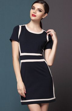 Blue Short Sleeve Zipper Contrast Trims Dress
