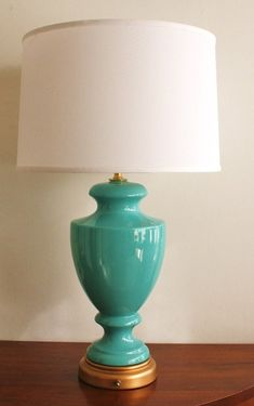 I found a turquoise lamp similar to this minus shade at a local thrift store for $3. Original retail price on etsy $165