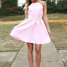 Pink Prom Dress,Halter Prom Dress,Fashion Homecoming Dress,Sexy Party Dress, New Style Evening Dress