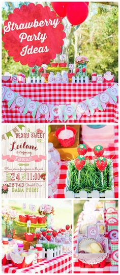 A strawberry themed outdoor picnic girl birthday party with strawberry cake pops and treats! See more party planning ideas at CatchMyParty.com!