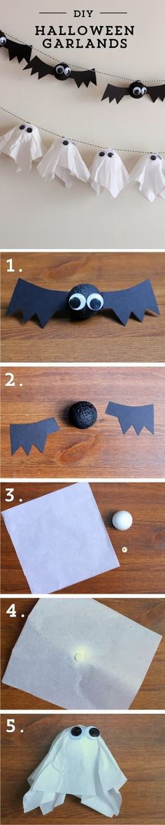 DIY Halloween Garlands diy craft halloween garland crafts how to tutorials halloween decorations halloween crafts halloween diy halloween decor halloween party ideas Diy Halloween Garland, Soirée Halloween, Adornos Halloween, Manualidades Halloween, Diy Garland, Halloween Birthday, Holidays Halloween, Halloween Decorations, Halloween Pumpkins