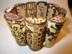 Bracelet made from cut wine corks. This would make a great gift for a friend after sharing the wine.