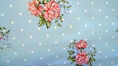 AQUA BLUE POSY DOTS VINYL OILCLOTH PVC WIPE CLEAN TABLE CLOTH CO click for sizes
