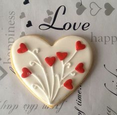 Items similar to I Love You Heart-shaped Cookies (One Dozen) - Valentine's Day cookies - Bridal Shower Favors - Wedding Favors - Wedding cookies on Etsy Valentine's Day Sugar Cookies, Fancy Cookies, Iced Cookies, Royal Icing Cookies, Cookies Et Biscuits, Cupcake Cookies, Cookie Favors, Flower Cookies, Easter Cookies