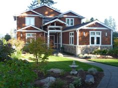 Choice Construction, Remodel, Custom Homes, Gig Harbor, Wood Siding, Rock Detail, Curb Appeal, Landscaping