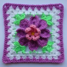 Transcendent Crochet a Solid Granny Square Ideas. Inconceivable Crochet a Solid Granny Square Ideas. Grannies Crochet, Crochet Squares Afghan, Crochet Motifs, Crochet Blocks, Granny Square Crochet Pattern, Crochet Flower Patterns, Crochet Flowers, Crochet Stitches, Ravelry Crochet